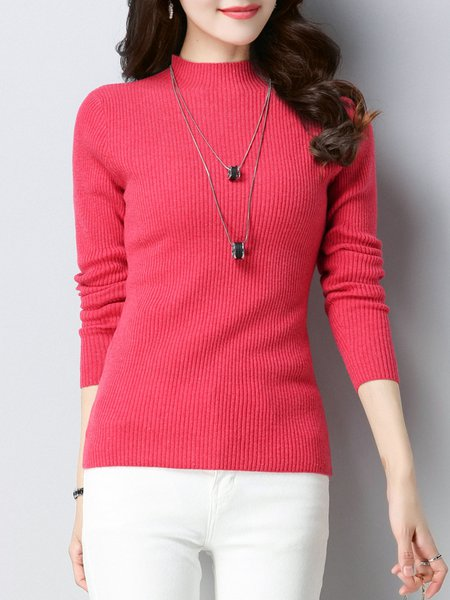 Casual Stand Collar Sheath Long Sleeve Knitted Sweater