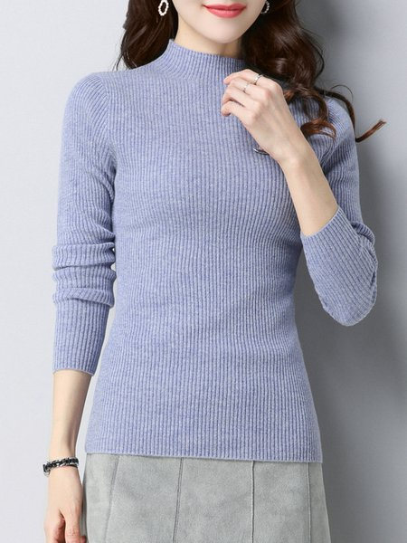 Casual Stand Collar Ribbed Long Sleeve Solid Sweater