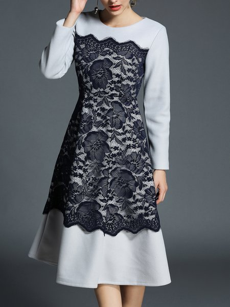 Crew Neck Long Sleeve Guipure Lace Casual Midi Dress