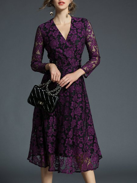 Lace Guipure Lace Plain Long Sleeve Wrap Dress