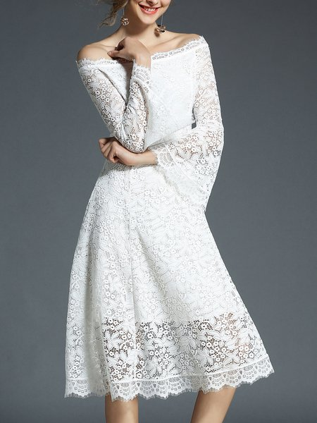 Bell Sleeve Guipure Lace Plain Midi Dress