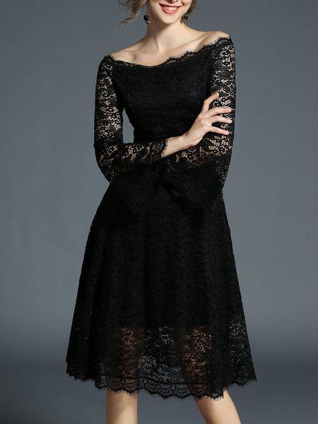 Bell Sleeve Plain Lace Midi Dress