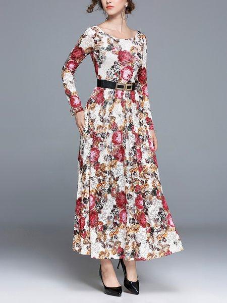 Beige A-line Lace Bateau/boat Neck Long Sleeve Boho Dress