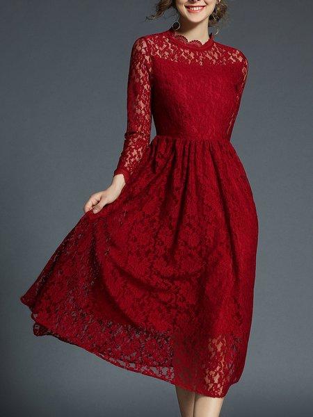 Burgundy Casual Guipure Lace Midi Dress