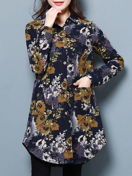 Blue Long Sleeve Shirt Collar Printed Cotton Coat