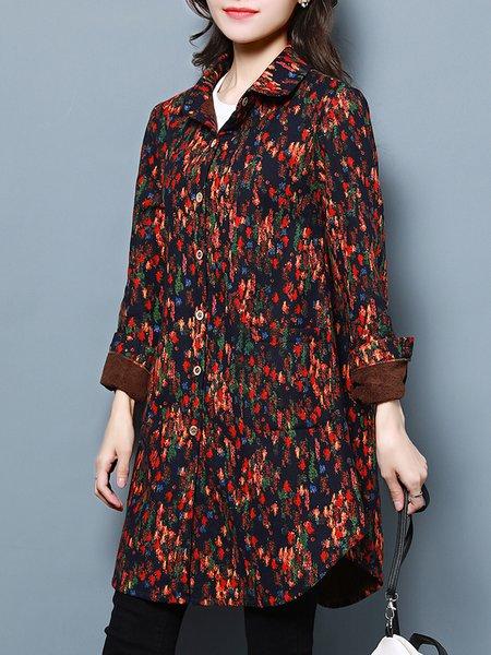 Casual Shirt Collar Cotton Long Sleeve Printed Coat
