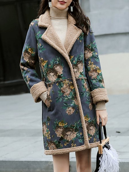 Plus Size Floral Casual Printed Fur And Shearling Coats