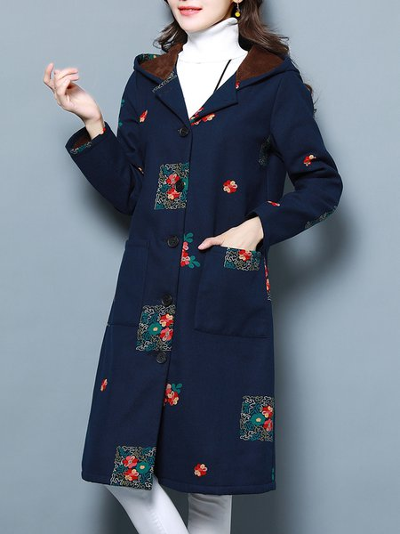 Floral Printed Long Sleeve Casual Fur And Shearling Coat