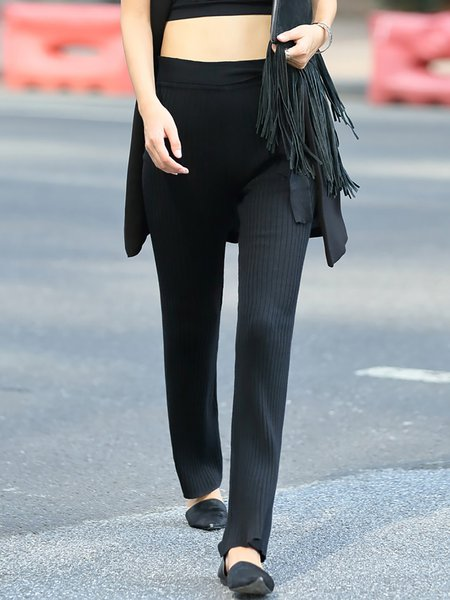 Black Knitted Simple Straight Leg Pants with Belt
