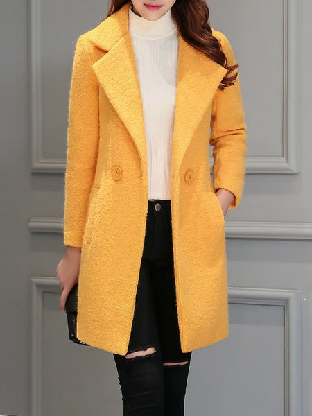 Casual Long Sleeve Lapel A-line Buttoned Coat