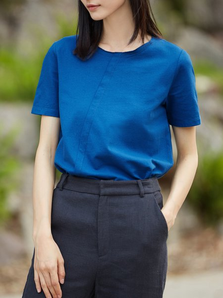 H-line Simple Solid Paneled Short Sleeve T-Shirt