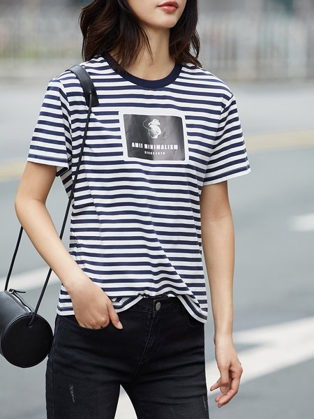 Casual Printed Stripes Short Sleeve Short Sleeved Top