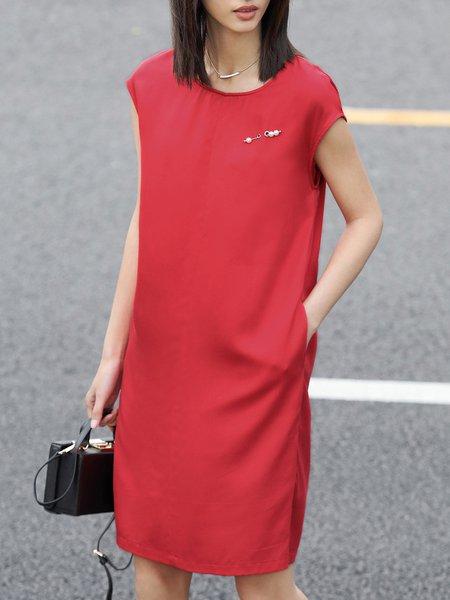 Crew Neck Short Sleeve Midi Dress