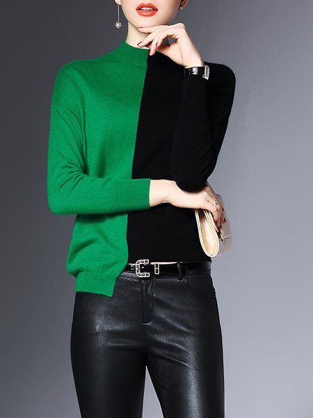 Batwing Turtleneck Long Sleeve Color-block Sweater