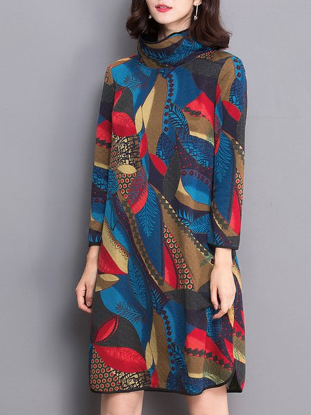 Multicolor Polyester Long Sleeve Turtleneck Midi Dress