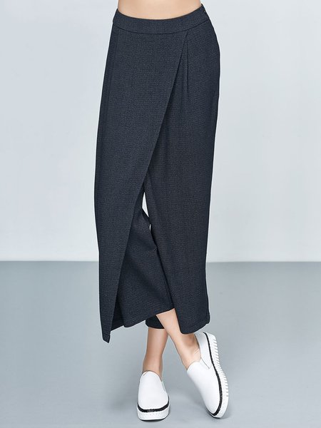 Deep Gray Plain Casual Plain Wide Leg Pants