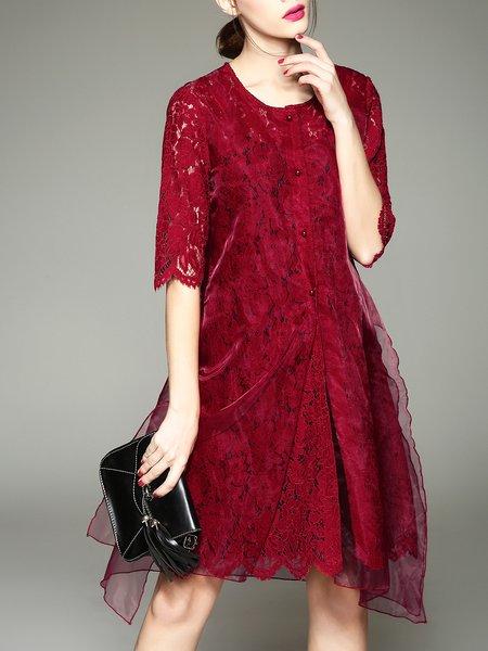 Red Half Sleeve H-line Midi Dress