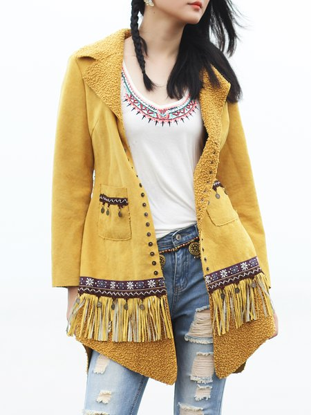 Yellow Pockets Long Sleeve Fringed Coat
