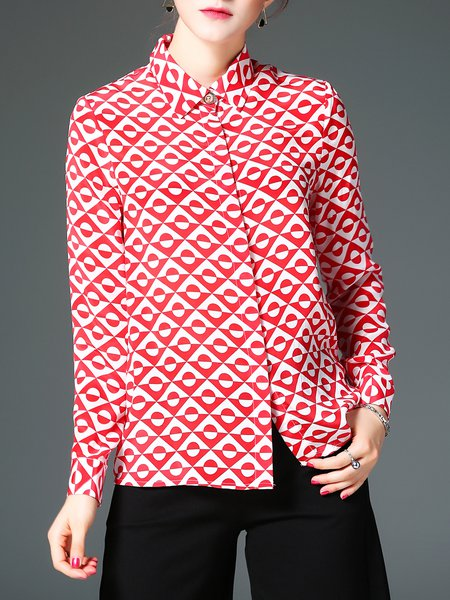 Red Silk Abstract Long Sleeve Printed Blouse