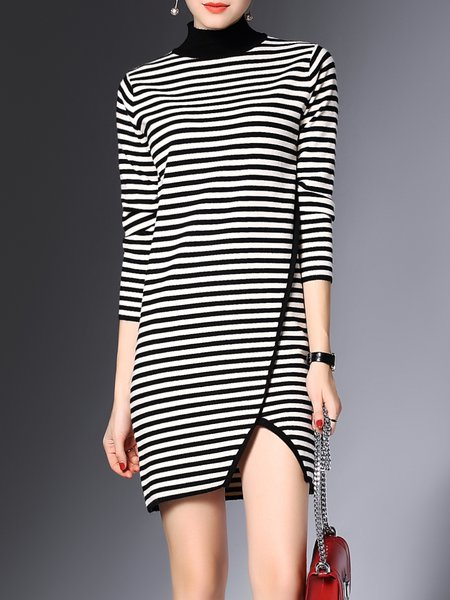 Black Stripes Knitted Casual Sheath Sweater Dress