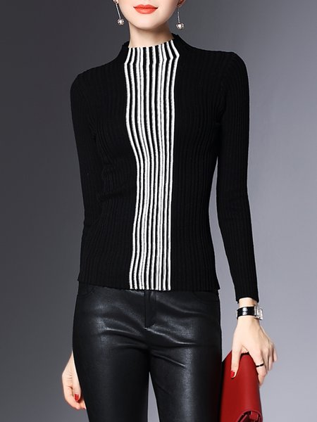 Color Block Casual Ribbed Pierced Knitted Sweater