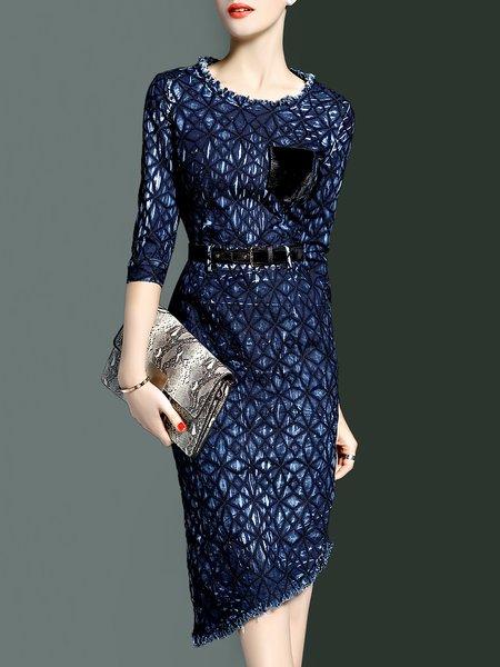 3/4 Sleeve Asymmetrical Elegant Midi Dress