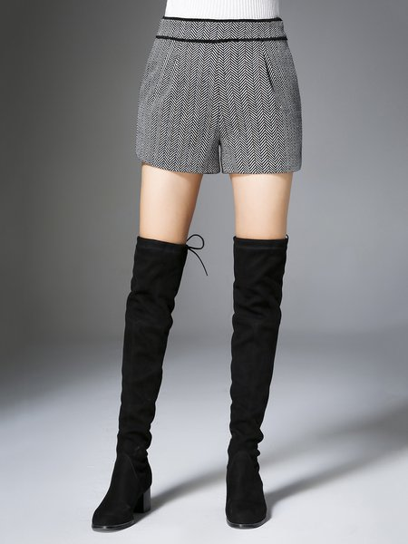 Gray Casual Wool Blend Shorts
