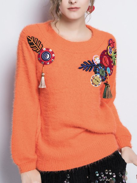 Beaded Balloon Sleeve Knitted Casual Sweater