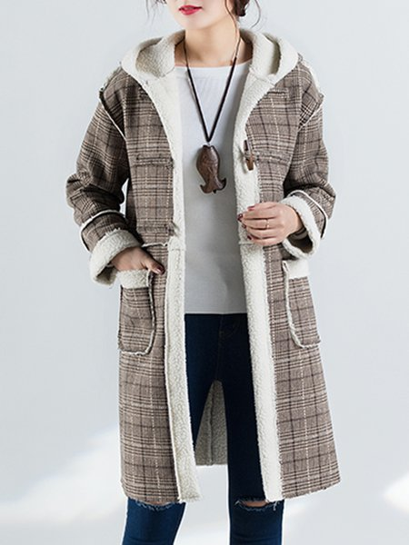 Coffee Pockets Casual Checkered/Plaid Hoodie Coat