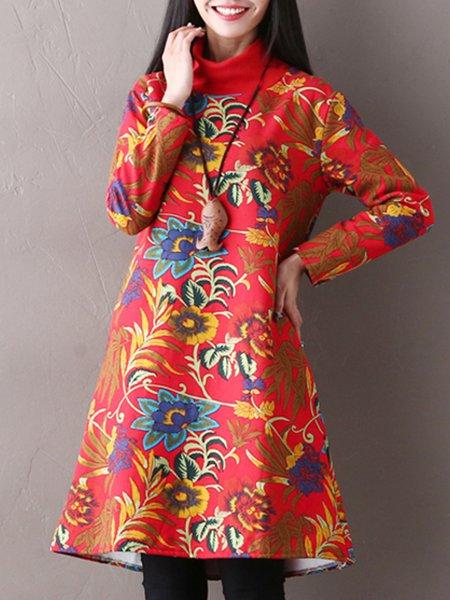 Orange Leaf Turtleneck Shift Long Sleeve Linen Dress