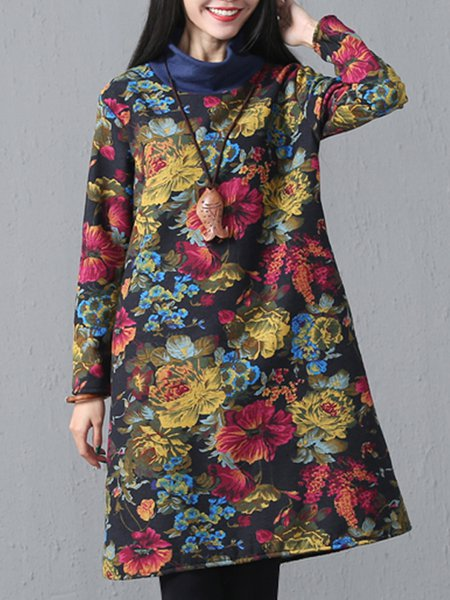 Turtleneck Printed/Dyed Long Sleeve Casual Linen Dress