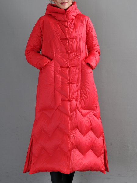 Pockets Casual Hoodie Long Sleeve Solid Down Coat