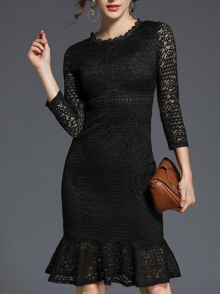 Black See-through Look Crew Neck Elegant Mermaid Midi Dress