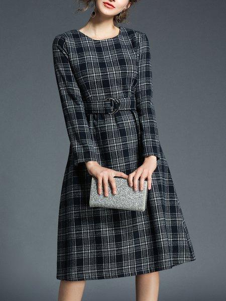 Deep Gray Checkered/Plaid Casual Midi Dress