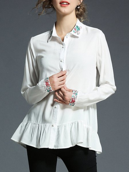 White Work Buttoned Shirt Collar Blouse