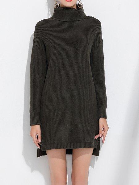 Army Green Turtleneck Long Sleeve Sweater Dress