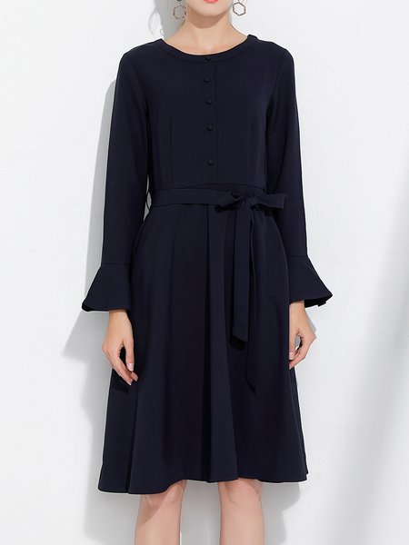Navy Blue Crew Neck Bell Sleeve Solid A-line Midi Dress