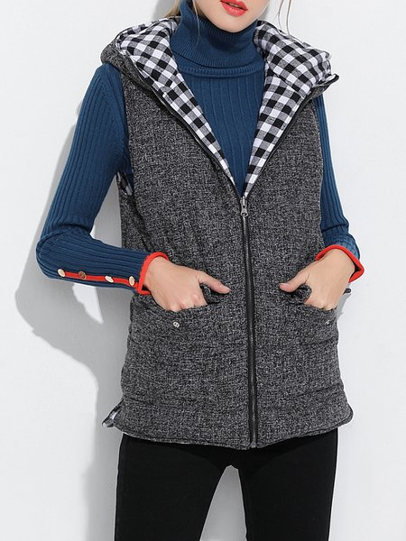 Hoodie Sleeveless Slit Casual Vests And Gilet