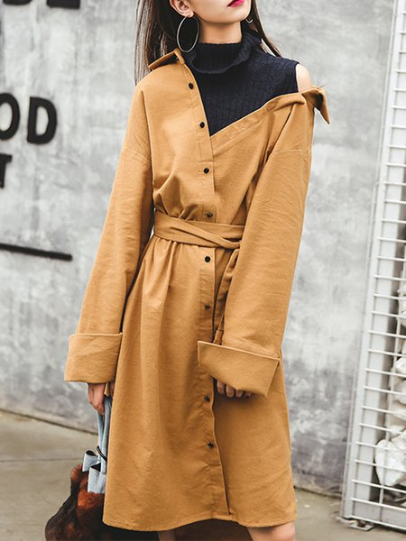 Long Sleeve Casual Asymmetric High Low Cold Shoulder Midi Dress
