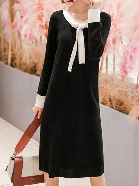Long Sleeve Acrylic Casual Sweater Dress