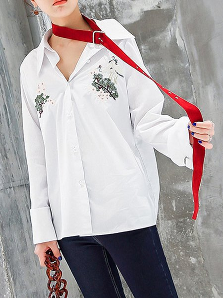 Long Sleeve Cotton Animal Casual Blouse