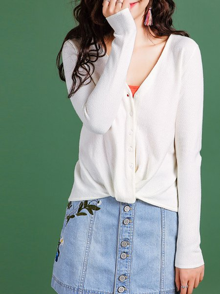 Long Sleeve V Neck Knitted Casual Cardigan