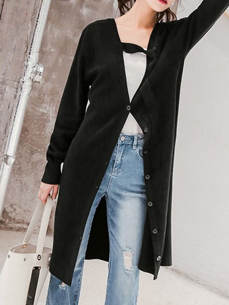 Long Sleeve Casual H-line Knitted Cardigan