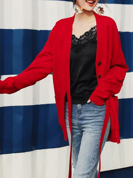 Knitted Casual V Neck Long Sleeve Cardigan