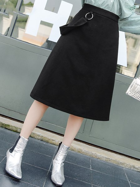 Black A-line Solid Casual Midi Skirt
