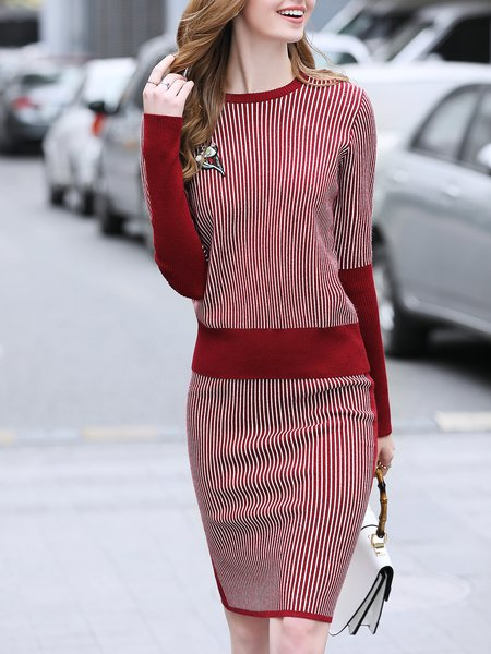 Long Sleeve Knitted Crew Neck Casual Stripes Top With Skirt
