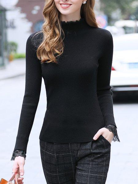 Black Ruffled Solid Long Sleeve Sweater