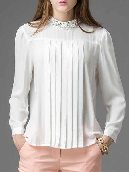 Solid Casual Beaded Long Sleeve Blouse
