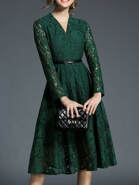 Dark Green A-line V Neck Long Sleeve Lace Midi Dress