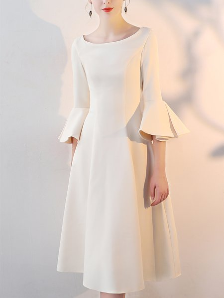 Bateau/boat neck  Midi Dress A-line Prom Vintage Solid Dress